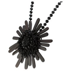 Black Agate Flower Medallion 925 Sterling Silver Beads Cocktail Pendant Necklace