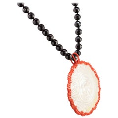 Black Agate Mother of Pearl Carved Medallion Natural Red Coral Handmade Necklace