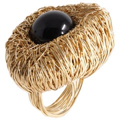 Black Agate Orb Woven into Yellow Gold Statement Cocktail Ring by Sheila Westera