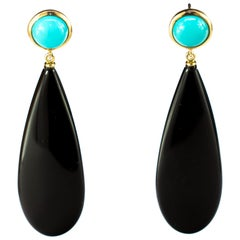 Black Agate Turquoise 18 Karat Yellow Gold Chandelier Tear Drop Long Earrings