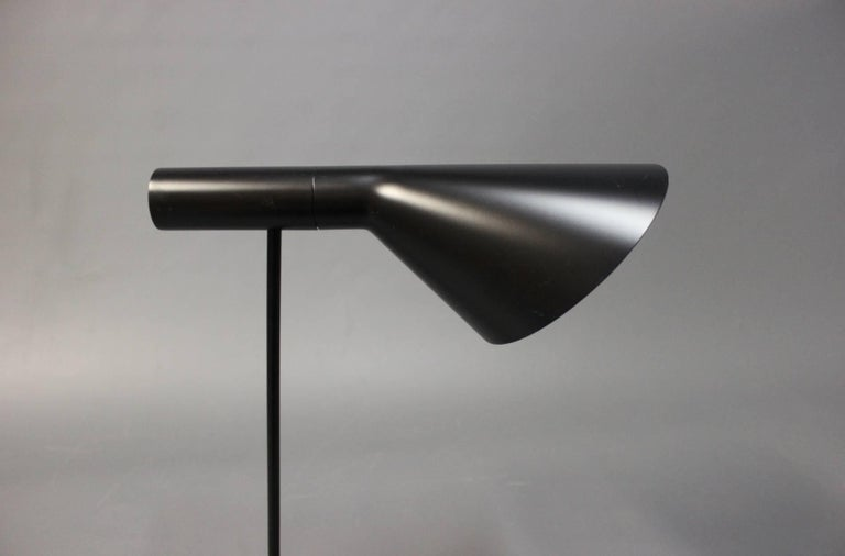 Danish Black AJ Table Lamp, Model 1808, by Arne Jacobsen and Louis Poulsen, 1960 For Sale