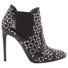 Black Alaia Embellished Leather Ankle Boots