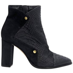 Black Alexandre Birman Suede & Leather Ankle Boots