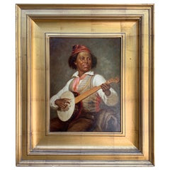 Black Americana Portrait of a Minstrel, Signed E. Shinn