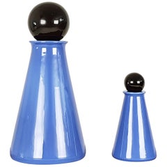 Black and Azure Ceramic 1980s Decorative Bottles by L. Boscolo for Forma & Luce