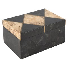 Black and Beige Marble Box with Brass Trim, circa 1980s