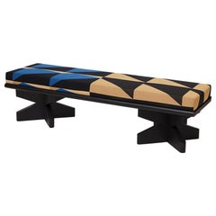 Black and Blue Lacquered Ash and Woven Fabric Bench by Vonnegut/Kraft for Weft