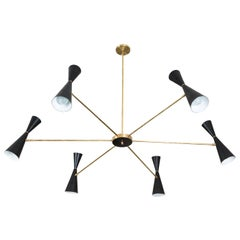 Black and Brass Radial Chandelier by Lawson-Fenning