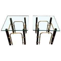 Black and Brass Square Glass Top Pair of Coffee Tables, France, Midcentury
