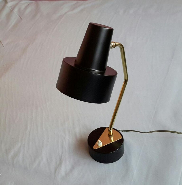 Mid-Century Modern Disderot Pierre Guariche Black and Brass Table Lamp, France 1950 For Sale