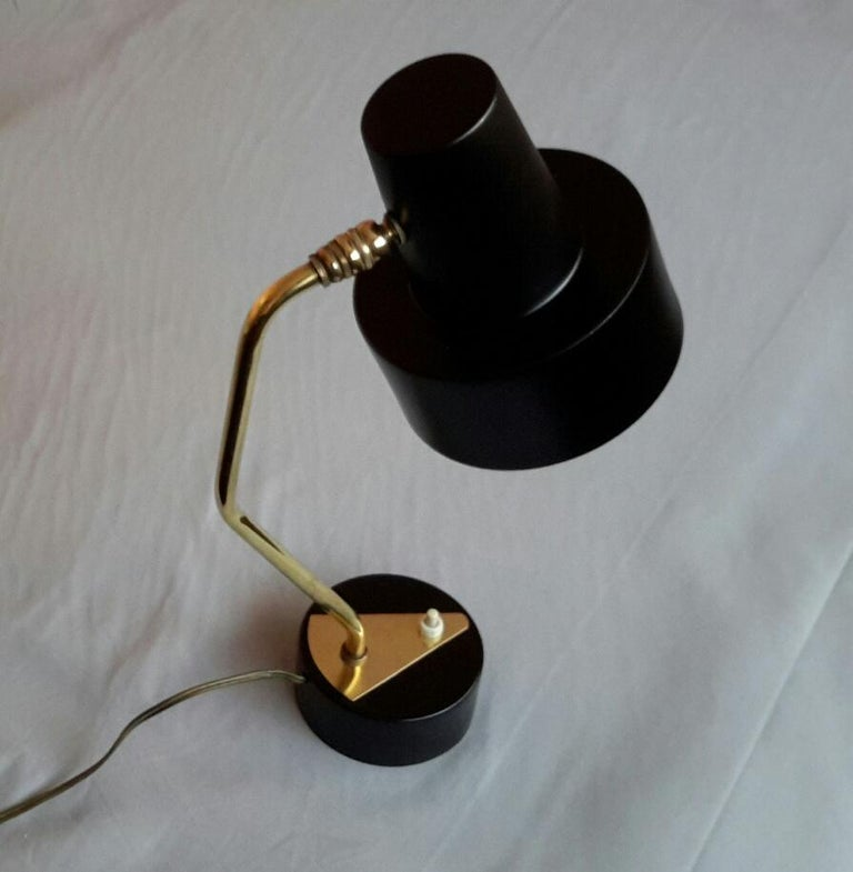Painted Disderot Pierre Guariche Black and Brass Table Lamp, France 1950 For Sale