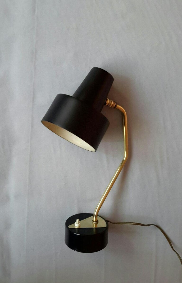 Disderot Pierre Guariche Black and Brass Table Lamp, France 1950 In Good Condition For Sale In Paris, FR