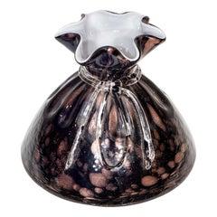 Black and Bronze Murano Glass Vase