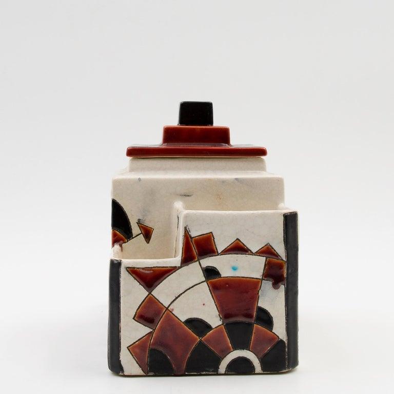 Belgian Black and Brown Charles Catteau Keramis Boch Ceramic Art Deco Decorated Pot For Sale