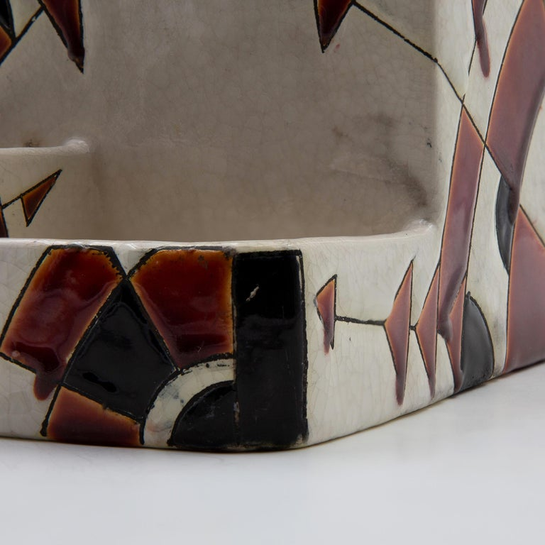 Mid-20th Century Black and Brown Charles Catteau Keramis Boch Ceramic Art Deco Decorated Pot For Sale