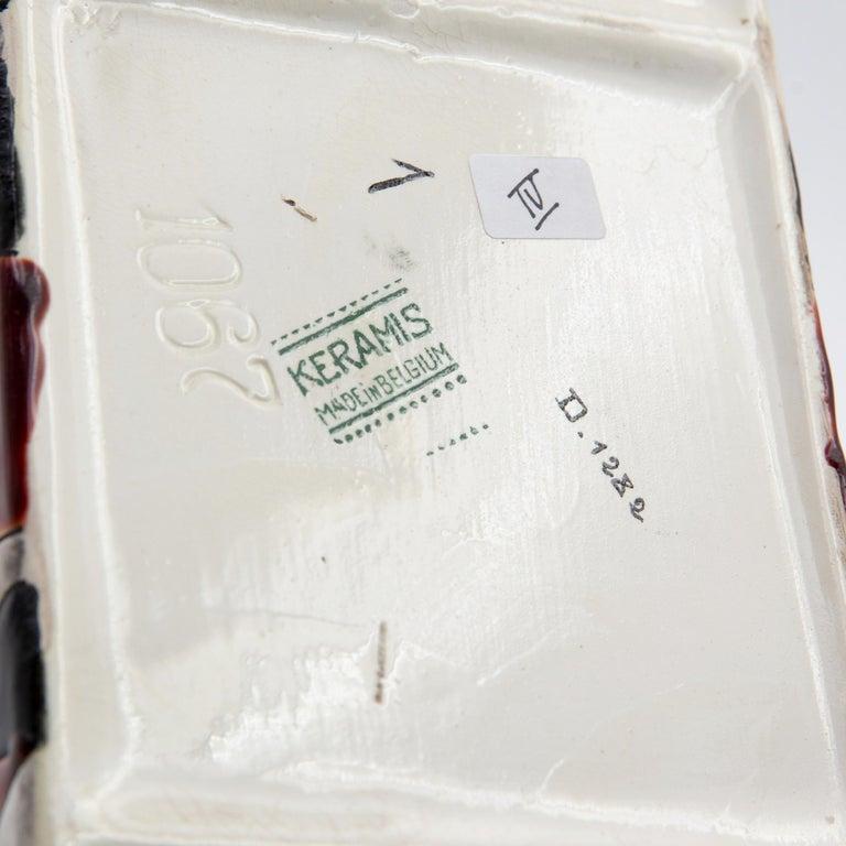 Black and Brown Charles Catteau Keramis Boch Ceramic Art Deco Decorated Pot For Sale 1