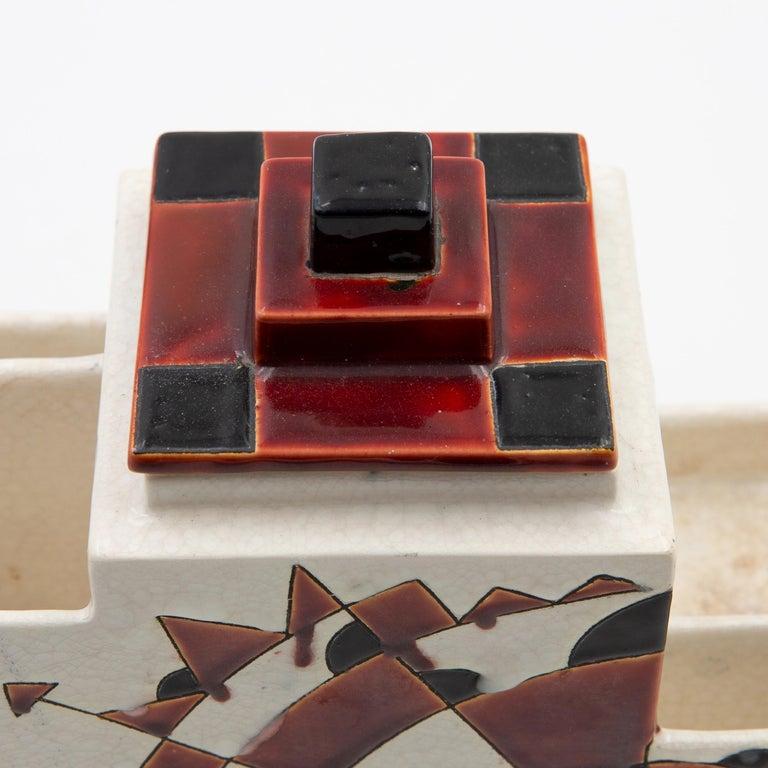 Black and Brown Charles Catteau Keramis Boch Ceramic Art Deco Decorated Pot For Sale 2