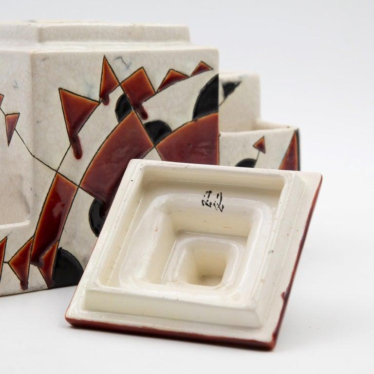 Black and Brown Charles Catteau Keramis Boch Ceramic Art Deco Decorated Pot For Sale 3
