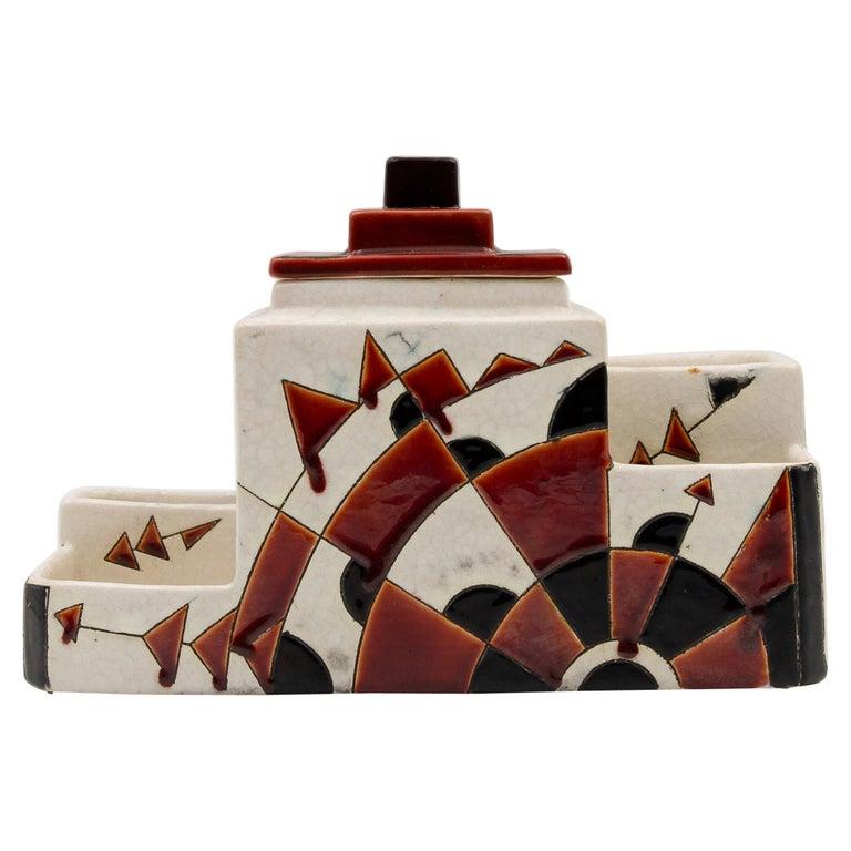 Black and Brown Charles Catteau Keramis Boch Ceramic Art Deco Decorated Pot For Sale