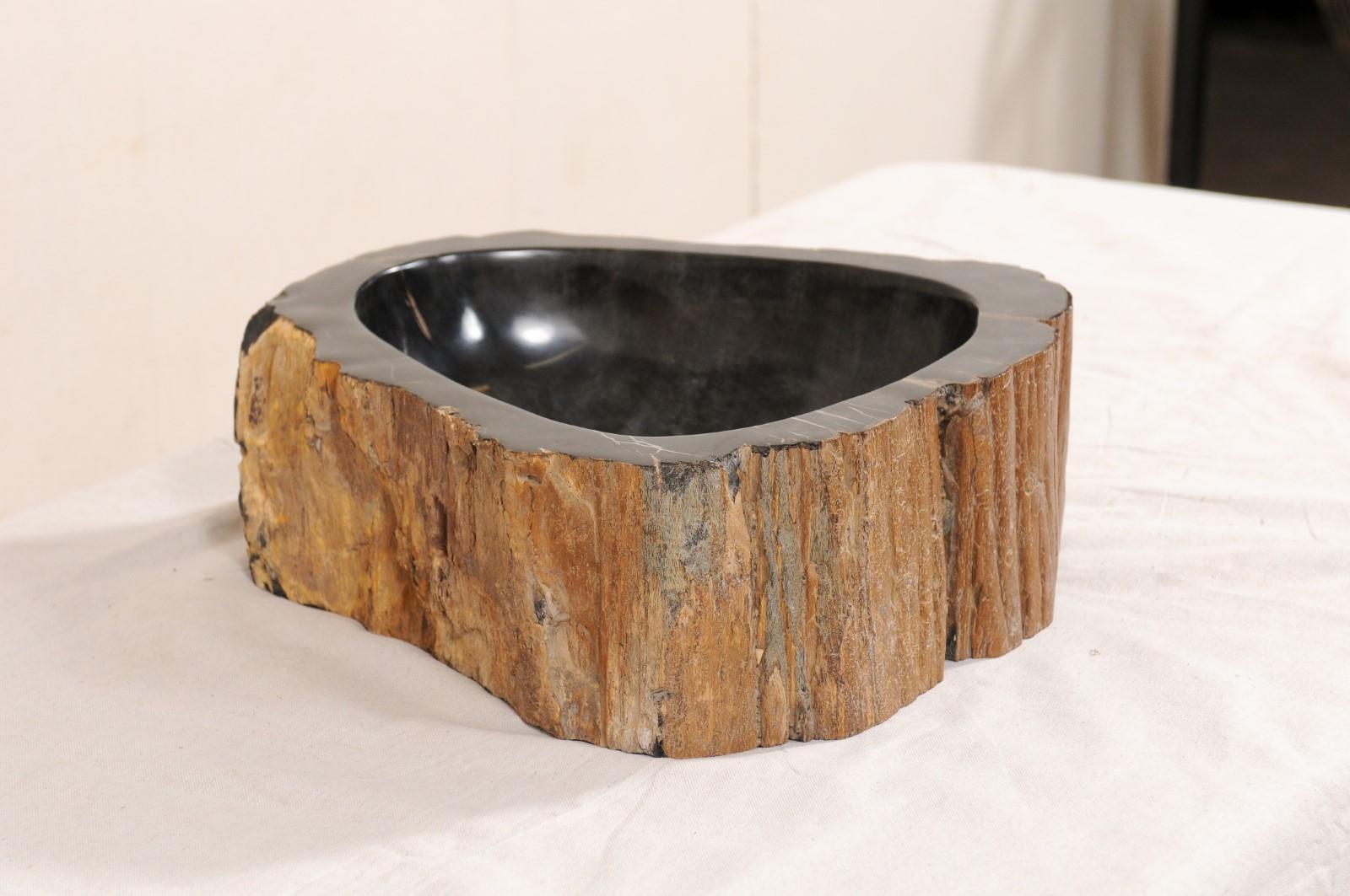 Black And Brown Polished Petrified Wood Sink