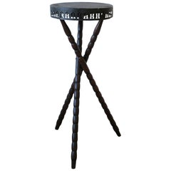 Black and Brown Tripod Side Table, ca. Early 20th Century