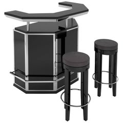 Black and Chrome Art Deco Bar with Stooling