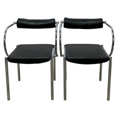 Black and Chrome Postmodern Chairs - a Pair