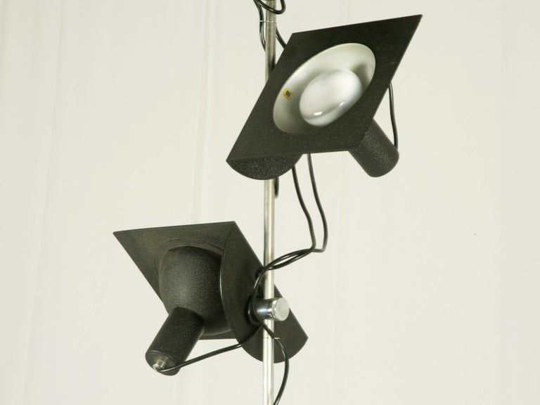 Space Age Black and Chromed Four-Light, 1970s Adjustable Pendant Lamp by BJ Milano Design For Sale