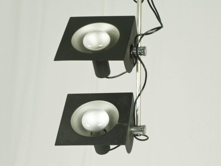 Painted Black and Chromed Four-Light, 1970s Adjustable Pendant Lamp by BJ Milano Design For Sale