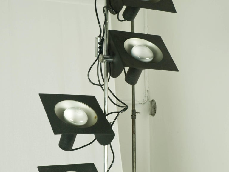 Late 20th Century Black and Chromed Four-Light, 1970s Adjustable Pendant Lamp by BJ Milano Design For Sale