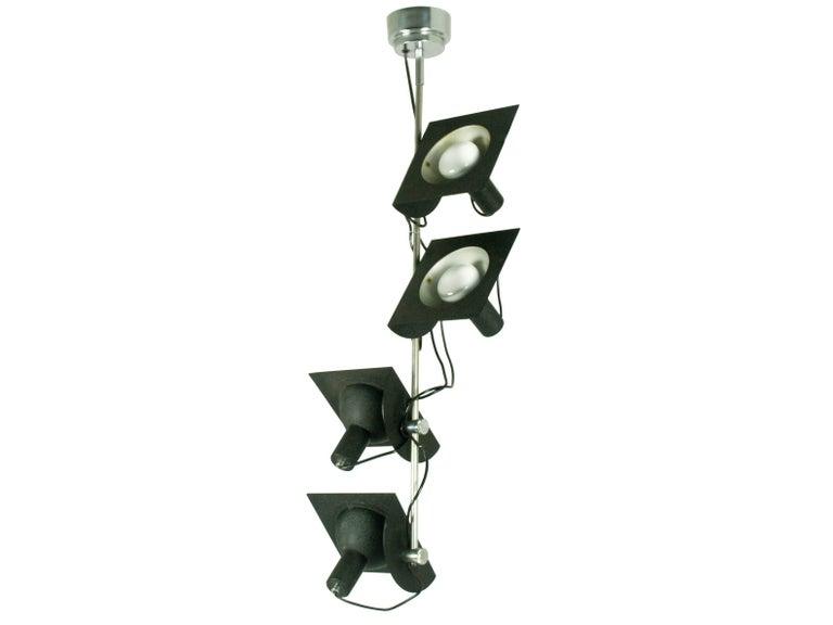 Italian Black and Chromed Four-Light, 1970s Adjustable Pendant Lamp by BJ Milano Design For Sale