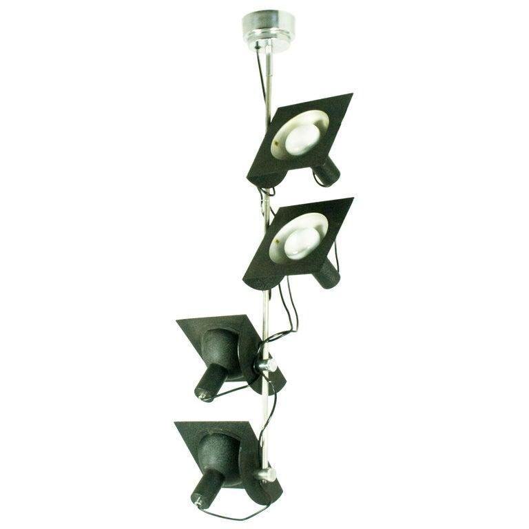 Black and Chromed Four-Light, 1970s Adjustable Pendant Lamp by BJ Milano Design For Sale
