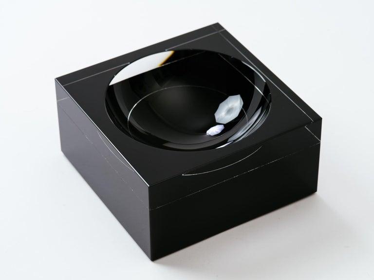 American Black and Clear Glass Concave Square Vide Poche For Sale