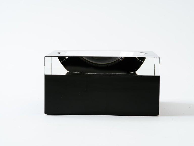 Black and Clear Glass Concave Square Vide Poche For Sale 1