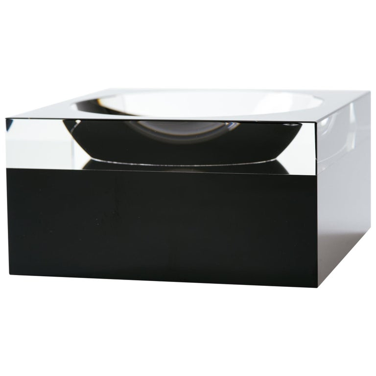 Black and Clear Glass Concave Square Vide Poche For Sale