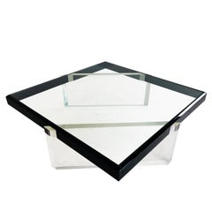 Black and Clear Lucite Coffee Table