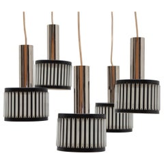 Black and Clear Lucite Five Shade Cascade Chandelier