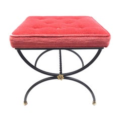 Black and Gilt Iron and Red Velvet Cushion Footrest Ottoman Stool, Italy, 1950s