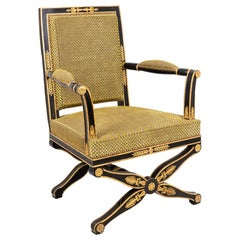 Black and Gilt Lacquered Empire Style Armchair, circa 1900