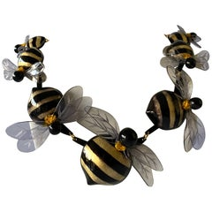 Black and Gold Artisan Bumblebee Statement Necklace