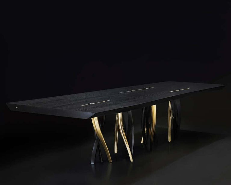Modern Black and Gold Ash wood Dining Table, Made in Italy For Sale