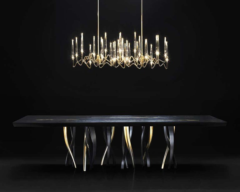 Cast Black and Gold Ash wood Dining Table, Made in Italy For Sale