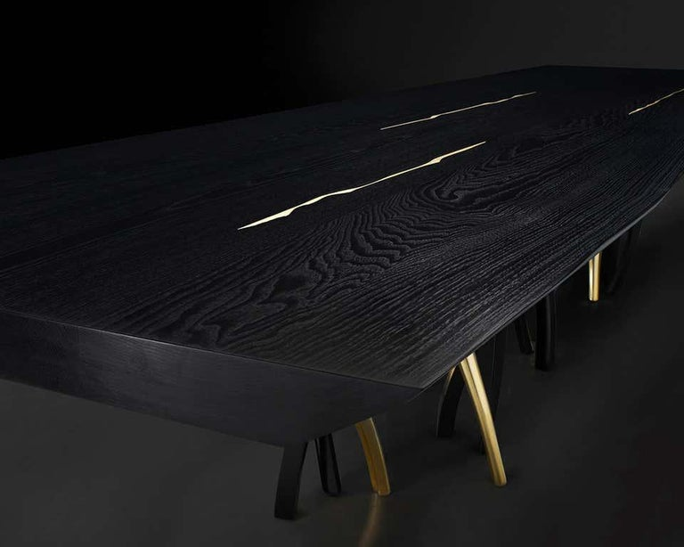 Black and Gold Ash wood Dining Table, Made in Italy In New Condition For Sale In Beverly Hills, CA
