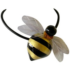 Black and Gold Bumblebee Statement Necklace/Pin