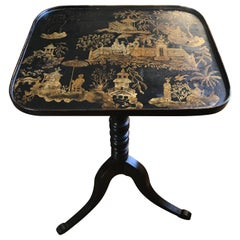 Black and Gold Chinoiserie Japanned Side Table