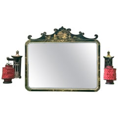 Black and Gold Chinoiserie Mirror and Pair of Sconces with Lanterns, circa 1920