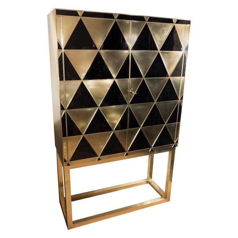 Black and Gold Glass Diamond Pattern Bar Cabinet