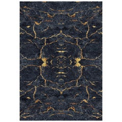Black and Gold Handmade Wool and Silk Rug from Scarab Collection by Gordian