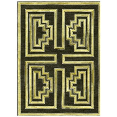 Black and Gold Handwoven Wool and Silk Rug from Labyrinth Collection by Gordian