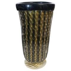 Black and Gold Murano Vases by Pino Signoretto